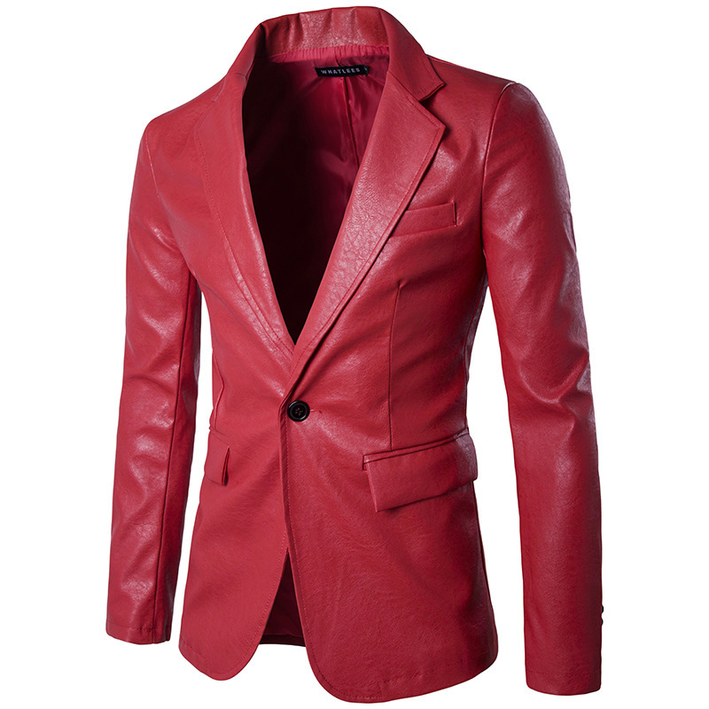 HO 2019 Fashion Men's PU Leather Fashion Suits Pure Color Cultivate One's Morality Single-breasted Suit
