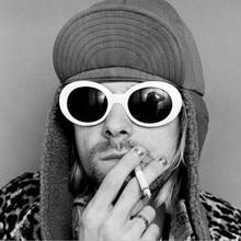 eaad7bd44d940 Óculos de influência NIRVANA Kurt Cobain Oval Óculos De Sol Para Homens  Espelho Retro Mulheres Óculos de Sol Óculos de Sol Mascu.
