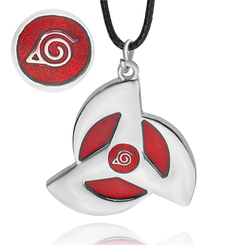 Naruto symbol necklace Women Men Leather chain Necklaces Pendants Naruto Leaf Village Design Simple Necklace