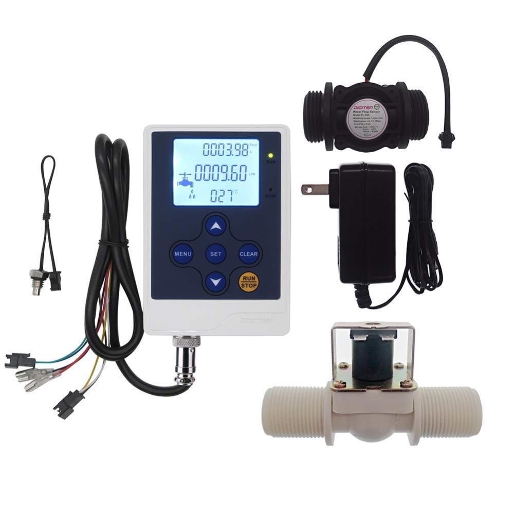DIGITEN Water Flow Control LCD Quantitative Meter Volume Rate Display G1 Flow Sensor Meter G1 Solenoid