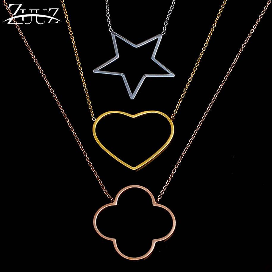 Zuuz gargantilha colar de aço inoxidável, pingente chocker rosa dourado para mulheres, acessórios de joias, melhores amigos, joias