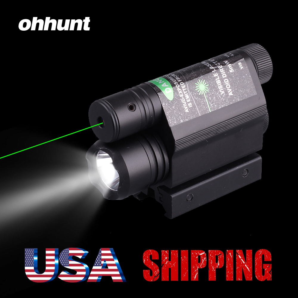 Ohhunt 5mW Powerful Tactical Green Laser Sight Scope Set 200 Lumen LED Flashlight Combo With Remote Pressure Switch