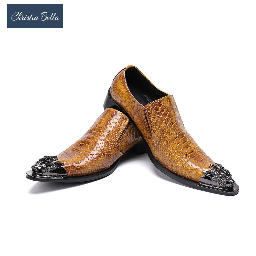 цены на Christia Bella Designer Snake Pattern Men Formal Shoes Genuine Leather Wedding Dress Shoes Plus Size Office Business Oxfords в интернет-магазинах