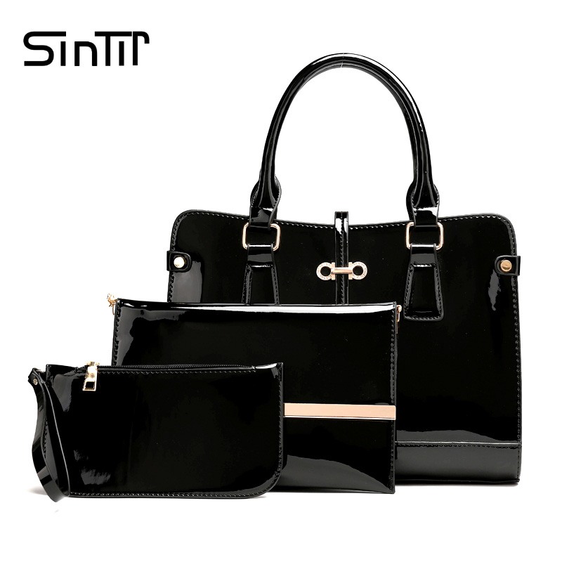 SINTIR 3 Set Famous Brand Big Women Shoulder Bag Vintage High Quality Oil Wax Leather Women Handbag Casual Tote Messenger Bag high quality authentic famous polo golf double clothing bag men travel golf shoes bag custom handbag large capacity45 26 34 cm