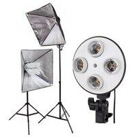 Photo Studio Kits Mains 4 Capped Lamp Holder Lighting 50 70cm Softbox 2m Light Stand Photographic