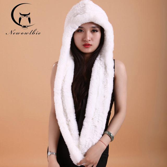 Mulheres Chapéu Do Inverno Do Lenço Rex Chapéu de Tricô De Lã Densa Grossa branco Chapéus Lenços chapéus Mulheres Moda Cap Lenços Para Manter quente