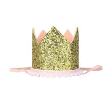 First Birthday Hat Glitter Crown Girl Party Princess Baby Shower Decorations Gold and Pink