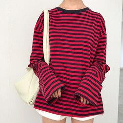 2017 новые винтажные модные базовые Свободные повседневные полосатые универсальные простые женские футболки с длинным рукавом