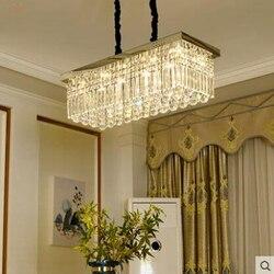 Lampa kryształowa żyrandol lampa do restauracji prostokątna nowoczesna minimalistyczna atmosfera kreatywny salon sypialnia lampa do jadalni Wiszące lampki    -