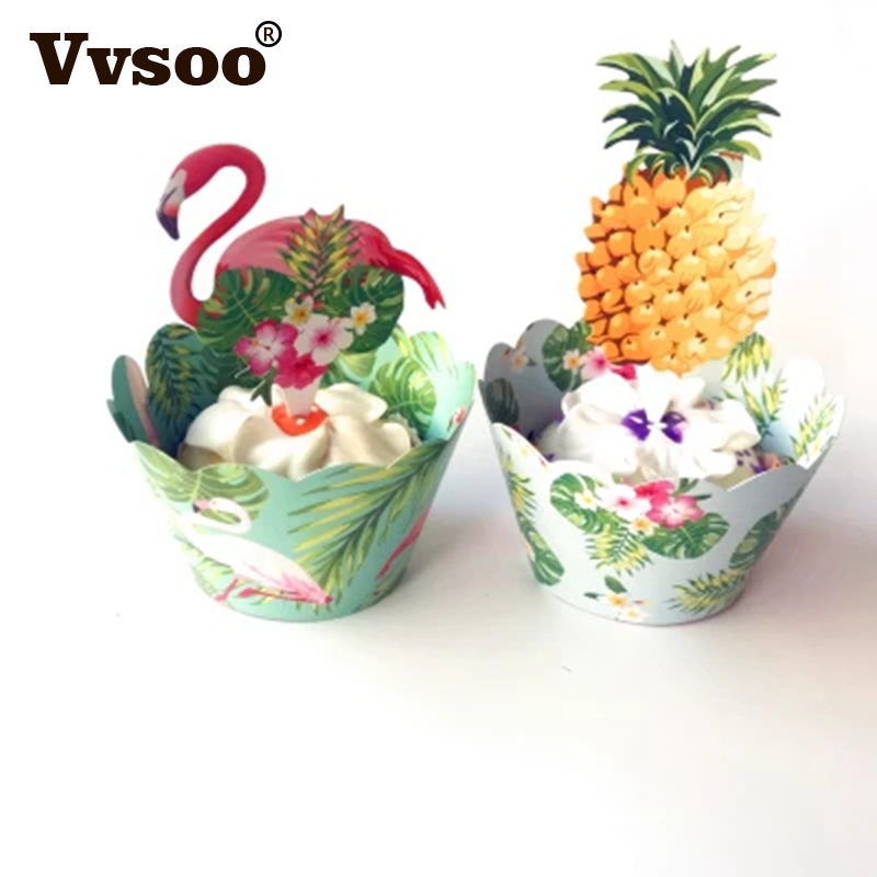 24pcs/set Cake Decoration Flamingo/Pineapple Cupcake Wrappers +Cake Topper Summer Party  ...