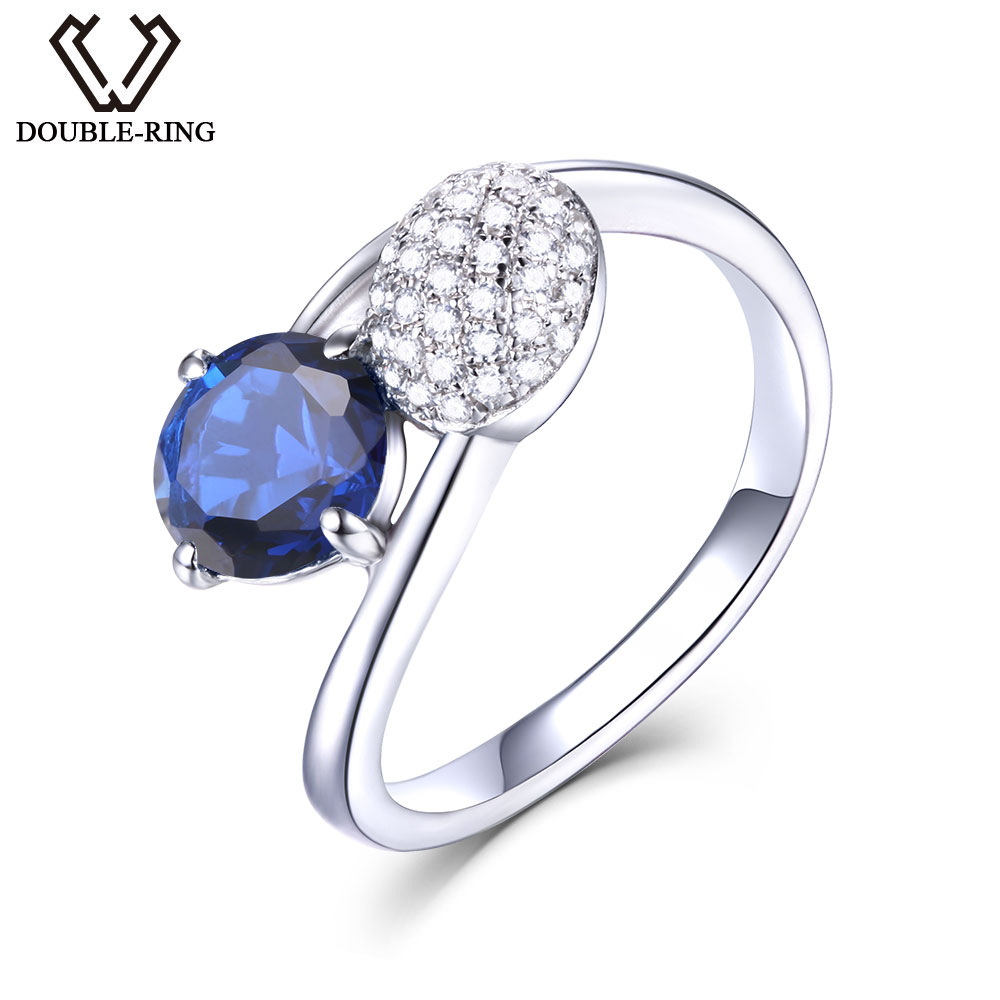 DOUBLE R 925 sterling silver Created Sapphire Gemstone Rings for women Embroidery