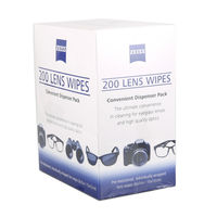 Zeiss Alcohol Free Streak Free Pre Moistened Screen Cleaning Wipes Lens Cleaning Cloth Wipes Lenses LCD Camera Cleaner 200 Pcs