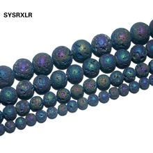 Free Shipping Natural Stone Electroplated colorful Volcanic Lava Round Loose Beads for Jewelry Making DIY Bracelet 6/8/10/12 MM