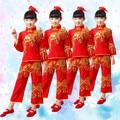 Танец Костюм для Девочек Красный Китайский Народный Танец Костюмы Дети Вентилятор Yangko Классический Танец Сценическое Одежда
