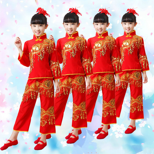 c916e35ad Dance Suit for Girls Red Chinese Folk Dance Costumes Children Fan ...