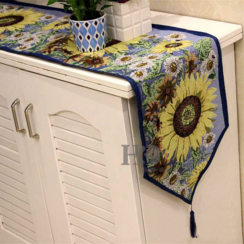 2PCS /LOT Sunflower Style Tapestry Wedding Bed Table Runner Table Cloth  Dining Mat Coasters Slip Resistant Placemat Table Decor In Table Runners  From Home ...