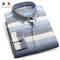 Langmeng Brand HOT Sale New 2016 High Quality Mens Designer Striped Dress Shirt Tops Casual Slim Long Shirts 3 Color Size XS-3XL