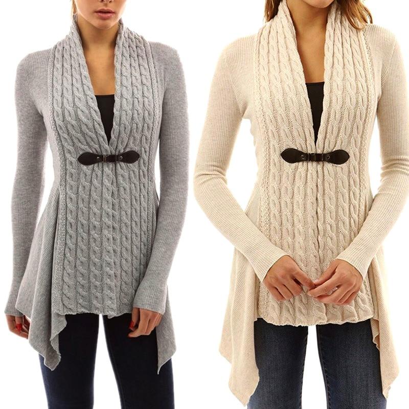 1 Pcs Frauen Dame Strickjacke Pullover V-ausschnitt Langarm Einfarbig Mode Kleidung Fs99
