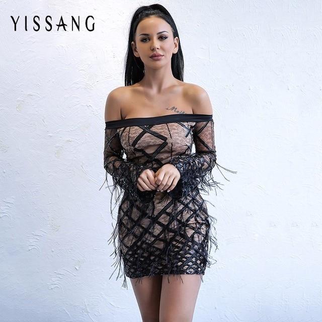 Yissang Off Shoulder Sequined Dresses Women Clubwear Feathers Women Black  2018 Vintage Mesh Bandage Long Sleeve Mini Dresses bacd1771e98e