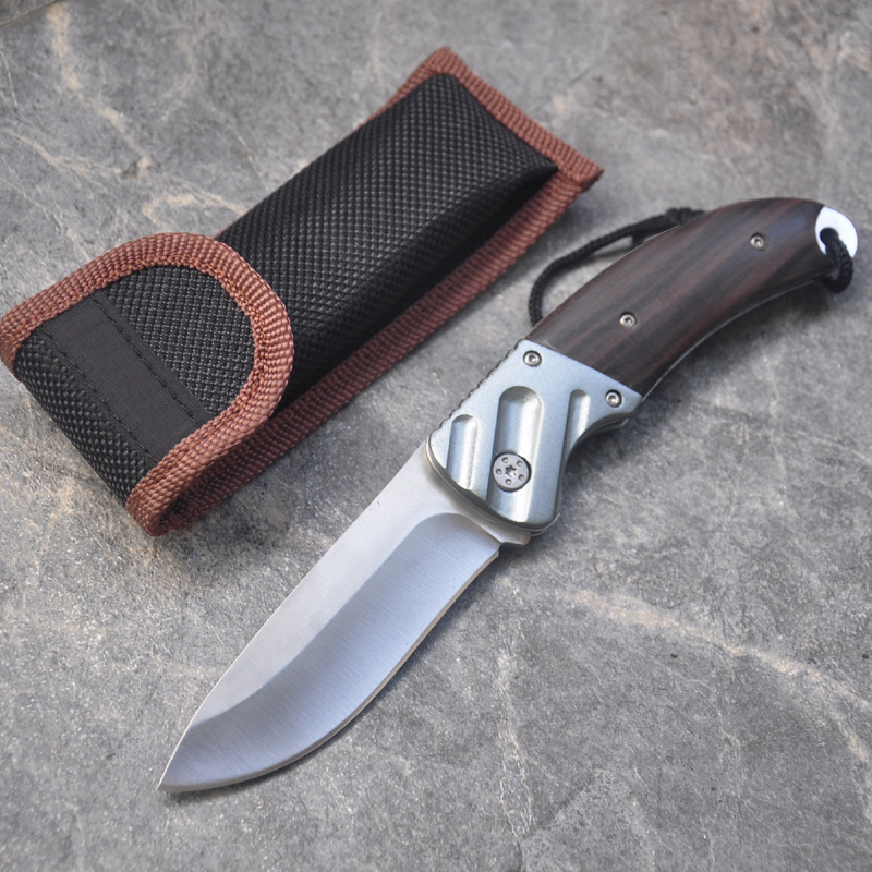 Brand Folding Knife Tactical Pocket Knife Rescue survival Handmade Knives wood handle Camping Hunting knife with Nylon Sheath image