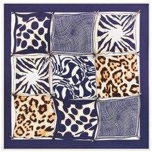 2020 New Luxury Brand Twill Silk Scarf Leopard Plaid Print W