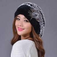 Women Berets Hats 100 Real Rex Rabbit Brand Winter Warm Floral Beanies Thicken Knitted Woolen Cap