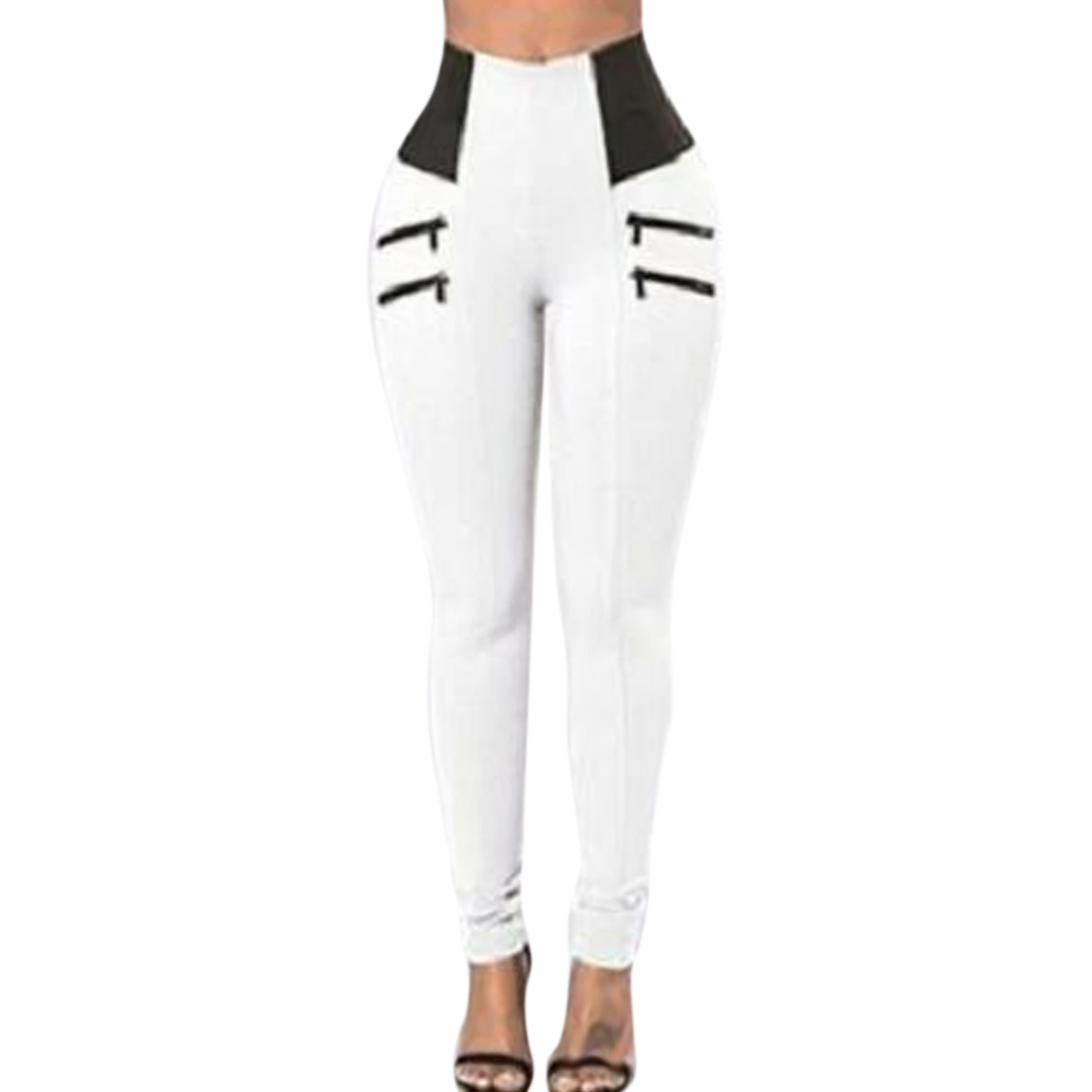 Women Pants Solid Color Zipper Slim Fit High Waist Long Pants for Fitness -MX8