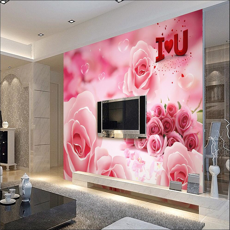 3d wallpaper mural art decor picture backdrop Pink rose petals ...