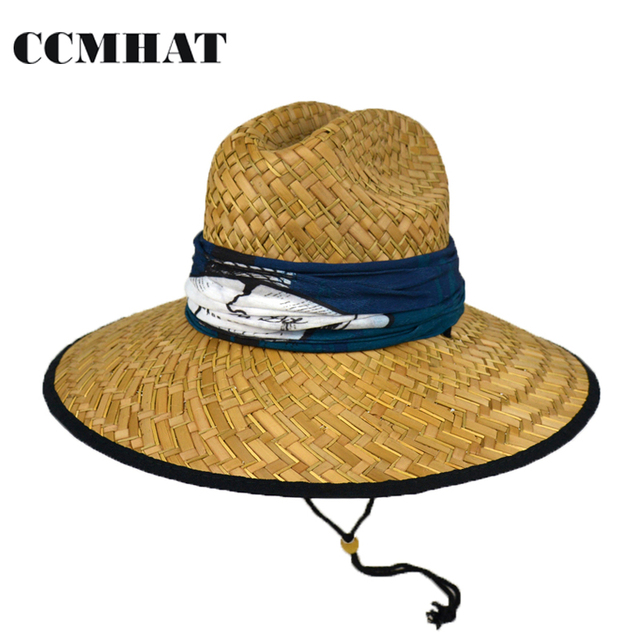 bd7a2f376dd CCMHAT Wide Brim Straw Hat For Men Summer Sun Hats For Women Scarf  Decoration Solid Lifeguard Caps Sunscreen Women Chapeau Femme