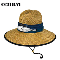CCMHAT Wide Brim Straw Hat For Men Summer Sun Hats For Women Scarf Decoration Solid Lifeguard Caps Sunscreen Women Chapeau Femme