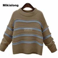 Mikialong 2017 5xl Oversize Sweater Women Harajuku Streetwear Long Sleeve Pullovers Women Thicken Warm Striped Knitted