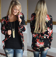 2017 European Foreign Trade Explosive Version Rose Printing Long Sleeve Loose Cardigan Sweaters Women