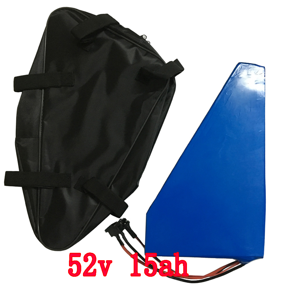 750W 52V Triangle battery 51.8V 15AH 14S Electric Bike Battery 52V 15AH Lithium ion battery With 15A BMS 58.8V 2A charger 30a 3s polymer lithium battery cell charger protection board pcb 18650 li ion lithium battery charging module 12 8 16v
