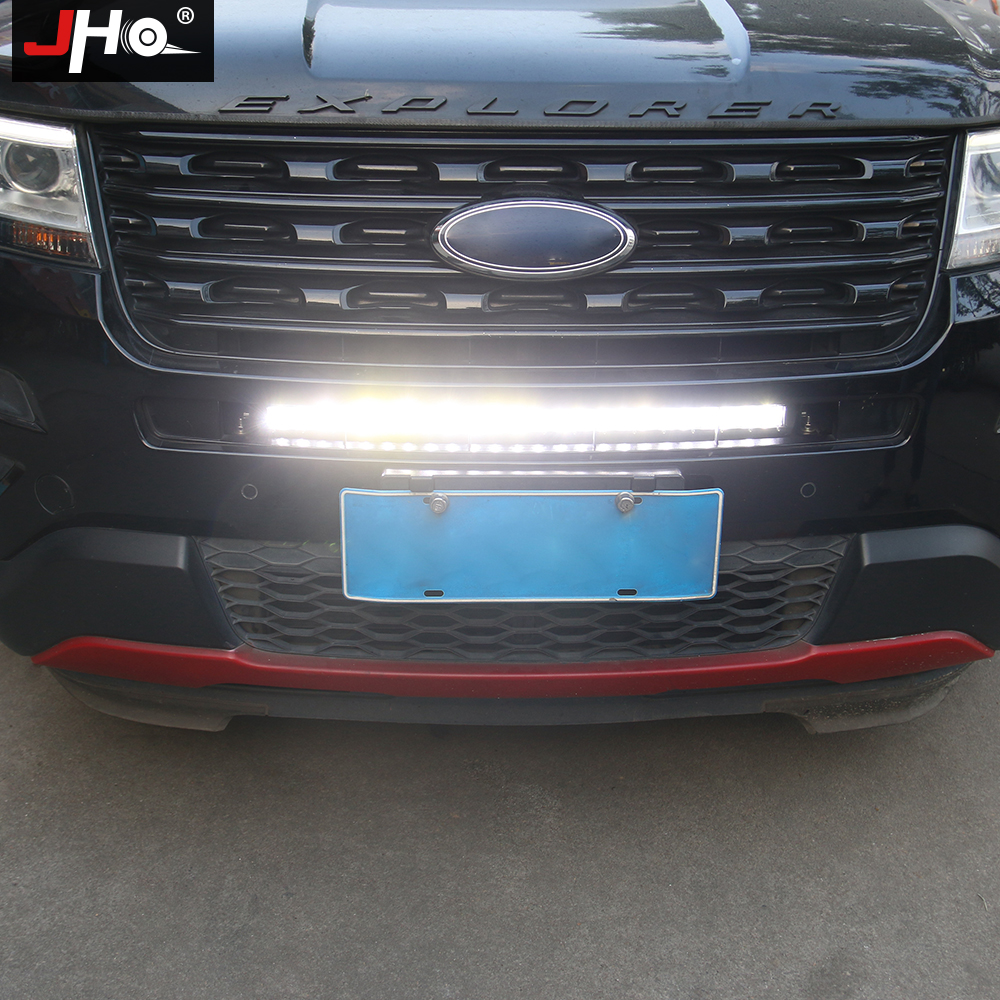 JHO Offroad Driving Car Accessories Front Grille LED Strobe Light Bar For Ford Explorer 2011-2019 2017 2016 2015 2014 2013 2018