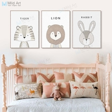 Kawaii Kids Animals Rabbit Giraffe Lion Posters Prints Nordic Style Cute Baby Room Wall Art Pictures Home Decor Canvas Paintings