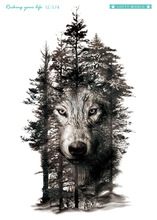 Rocooart Large Tattoo Sticker Wolf In Trees Fake Tattoo Taty Henna Tatouage Body Art Temporary Tattoo Stickers For Women Arms