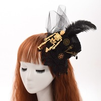 Women Black Punk Gothic Mini Top Hat Hairclip Feather Skull Gear Deco Headwear