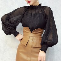 4 Colors Spring New Ruffle Chiffon Perspective Top Appliques Floral Lantern Sleeve Stand Collar Shirt