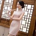 Chinese Ancient Elegant Thin Linen Short Qipao Pink Flower Cheongsam 2017 Summer New Banquet Wedding Dress S-XXL