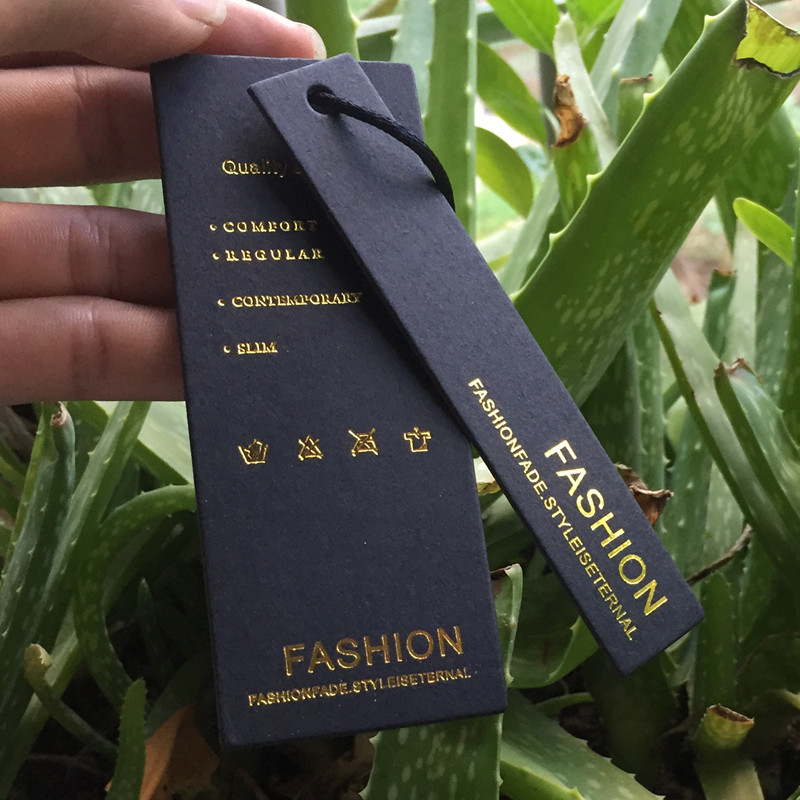Custom Black Paper Gold Silver Foil Stamping  Paper Price Hang Tag Clothing Garment Clothes Swing Hang Paper Labels Tags