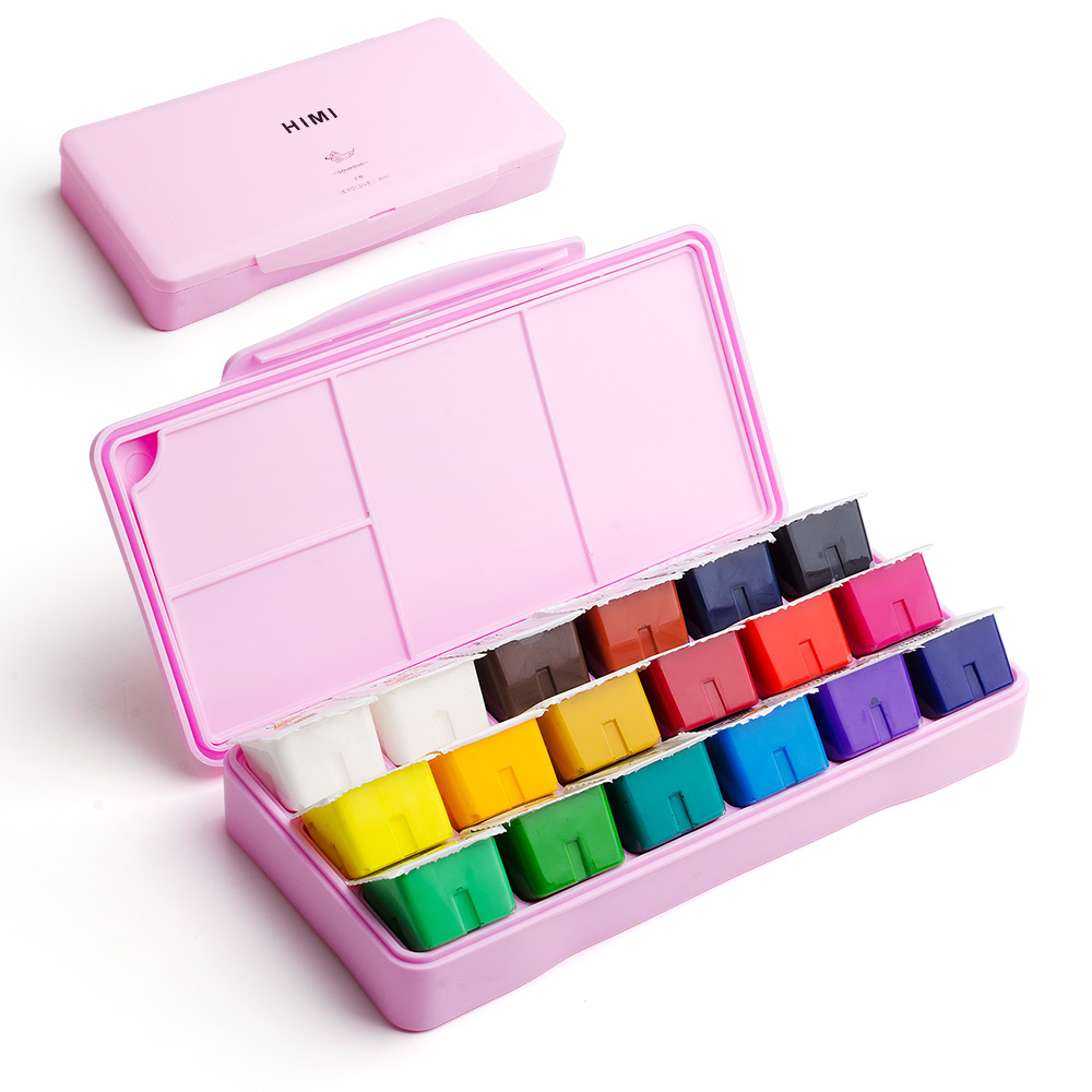 MIYA 18 Colors Gouache Paint Set  30ml Portable Case with Palette Gouache Watercolor Painting for Artists Students Non-Toxic 4