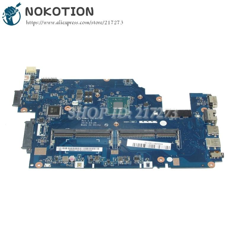 NOKOTION Z5WAL LA-B211P NBMNY11001 NB.MNY11.001 Laptop Motherboard For acer aspire E5-511 SR1YJ N2840 DDR3L nokotion jalb0 l01 la 4171p for acer aspire 5530 5530g laptop motherboard ddr2 socket s1 mbapv02001 mb apv02 001 mainboard
