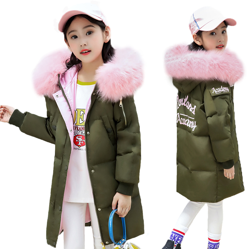 2018 New Girls Winter Jackets Kid Hooded Coats Thick 6-14Y Children's Warm Parkas Girl Winter Coat With Fur High Quality Outdoor цены онлайн