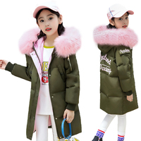 2018 New Girls Winter Jackets Kid Hooded Coats Thick 6 14Y Children's Warm Parkas Girl Winter Coat With Fur High Quality Outdoor