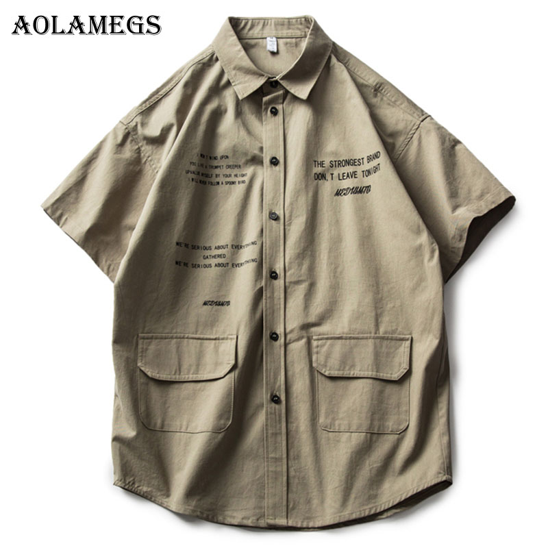 Aolamegs Shirts Men Cargo Letter Male Shirts Cotton Short Sleeve Extended Shirt Fashion Casual College Style Summer Streetwear
