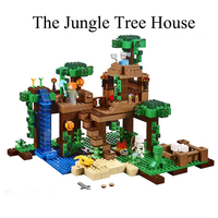 Minecrafted 562Pcs The Jungle Tree House My World Model Building Blocks Compatible LegoINGly Toys for Children