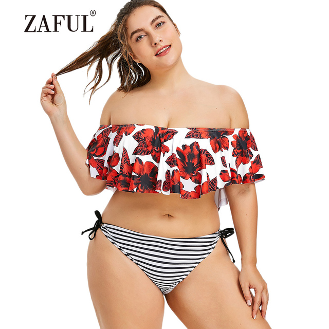 57bb144709d78 ZAFUL Plus Size Swimwear Women Swimsuit Flowers Print Stripe Flounce Bikini  Plus Size Bathing Suit Low Waisted Padded Swimsuit