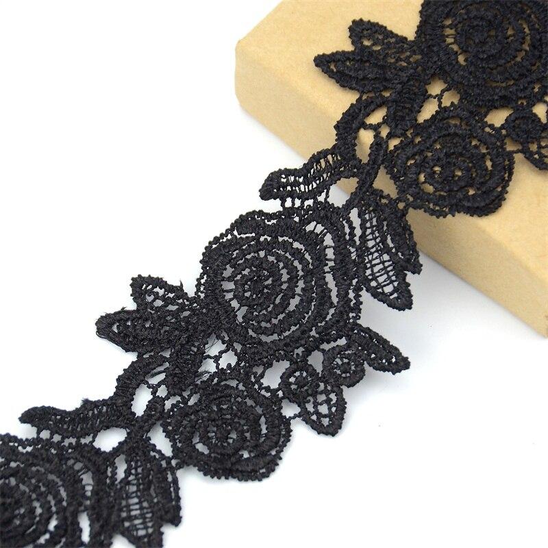 2Yds Hollow Lace Edge Trim Cotton Crochet Wedding Ribbon Applique Sewing Craft