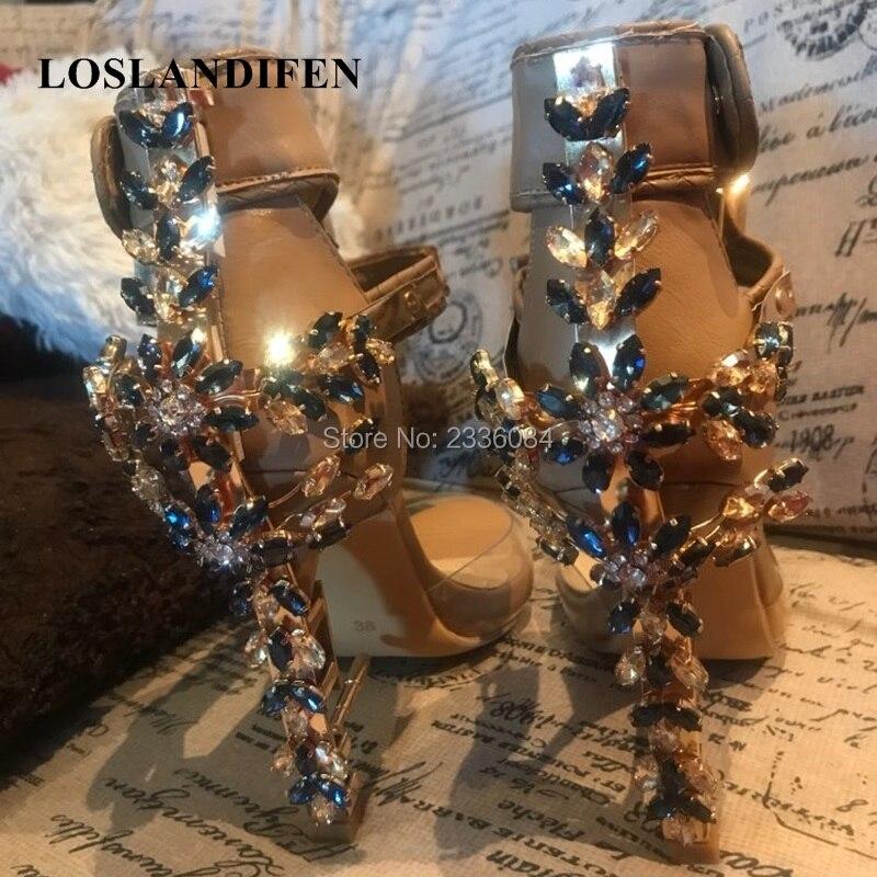 Client Show 2018 Top Original Women High Heels Impera Rihanna Spiked Sandals Boots Strapless Rhinestone Lock Diamonds heels