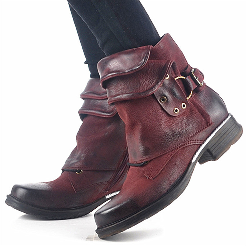 Wine Red Genuine Leather Women Ankle Boots Punk Style Motorcycle Boots Buckle Decor Short Botas Militares